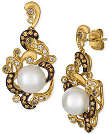 Le Vian Chocolatier® Cultured Freshwater Pearl (8-1/2mm) & Diamond (5/8 ct. t.w.) Drop Earrings in 14k Gold