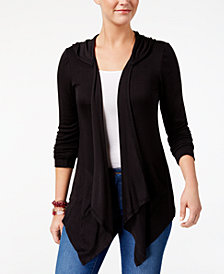 Style & Co Hooded Draped Cardigan, Created for Macy's
