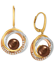 Le Vian® Cultured Tahitian Brown Pearl (10mm) & Diamond (3/8 ct. t.w.) Drop Earrings in 14k Gold, White Gold & Rose Gold
