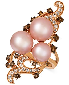 Le Vian Crazy Collection® Strawberry Pearls® (10mm) & Multi-Gemstone (1-1/8 ct. t.w.) Ring in 14k Gold