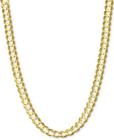 "26"" Open Curb Link Chain Necklace in Solid 14k Gold"