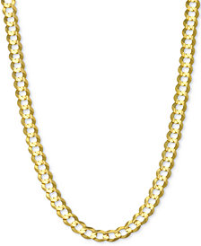 "24"" Open Curb Link Chain Necklace in Solid 14k Gold"