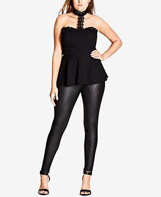 City Chic Trendy Plus Size Flirty Lace Peplum Top