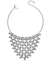 I.N.C. Silver-Tone Hematite Bead Statement Necklace, Created for Macy's