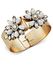 I.N.C. Gold-Tone Stone & Crystal Floral Hinged Bangle Bracelet, Created for Macy's