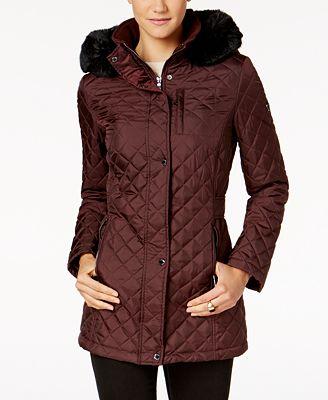 Calvin Klein Faux Fur Hood Quilted Coat Coats Women Macys