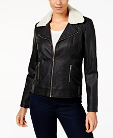 Style & Co Convertible Faux-Leather Sherpa Jacket, Created for Macy's