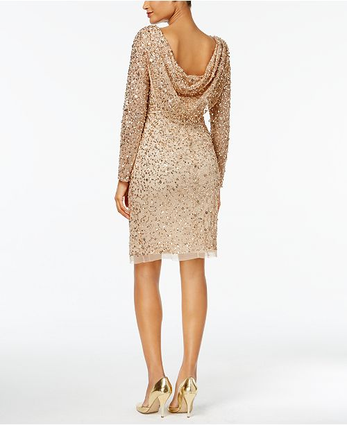 Adrianna Papell Sequined Ruched Draped-Back Dress - Dresses - Women ...