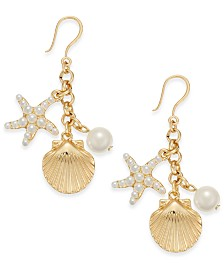 Charter Club Gold-Tone Imitation Pearl Sea Motif Drop Earrings, Created for Macy's