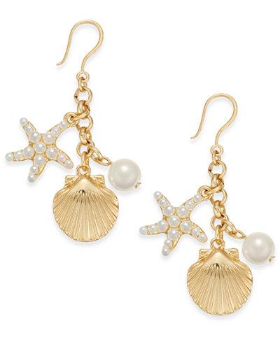 Charter Club Gold-Tone Imitation Pearl Sea Motif Drop Earrings, Created for Macy's