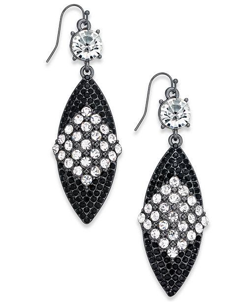 Thalia Sodi Hematite Tone Crystal Drop Earrings, Created for Macy's