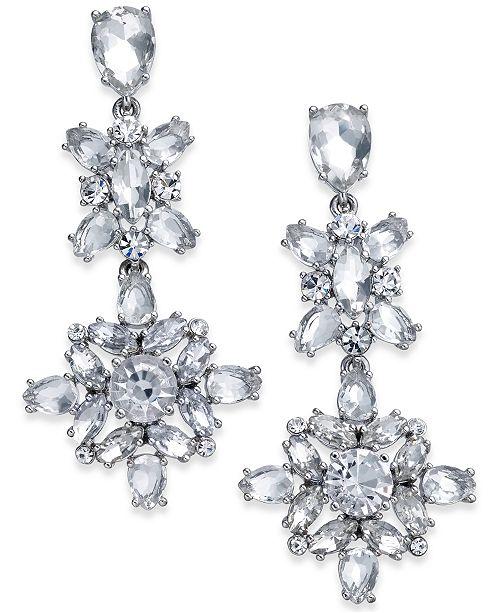4c582650681a6 kate spade new york Silver-Tone Crystal Linear Drop Earrings ...