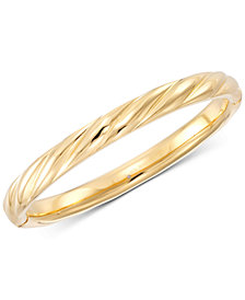 Signature Gold Ribbed Hinged Bangle Bracelet in 14k Gold over Resin, Created for Macy's