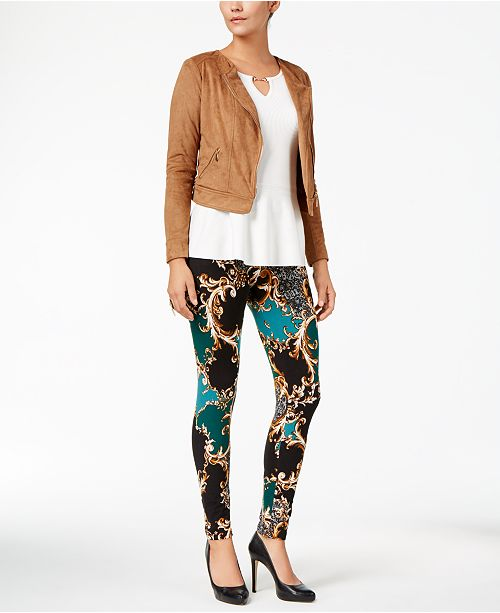 Thalia Sodi Faux-Suede Moto Jacket, Peplum Sweater & Printed Leggings, Created for Macy's
