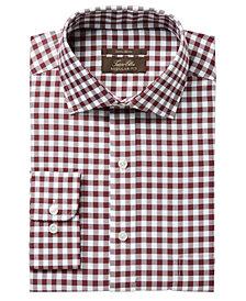 Tasso Elba Men's Regular Fit Non-Iron Burgundy White Bold Herringbone Gingham Dress Shirt, Created for Macy's
