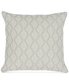"Sanderson Delphiniums Burnwood Embroidery 200-Thread Count 18"" x 18"" Decorative Pillow"