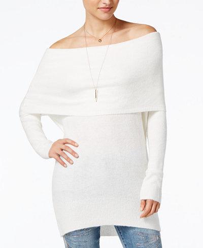 Ultra Flirt Juniors' Marilyn Off-The-Shoulder Tunic Sweater ...