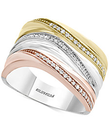 Trio by EFFY® Diamond Triple Band Ring (1/5 ct. t.w.) in 14k Gold, White Gold & Rose Gold