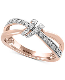 Pavé Rose by EFFY® Diamond Bow Ring (1/6 ct. t.w.) in 14k Rose Gold