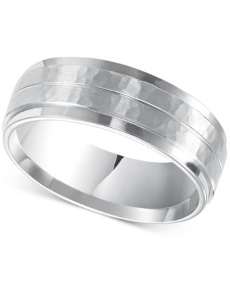Mens Hammered Comfort Fit Wedding Band in 14k White Gold Rings