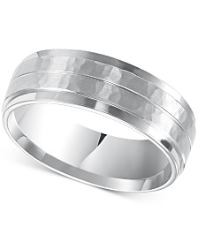 Men's Hammered and Brush Finish Wedding Band in 14k White Gold