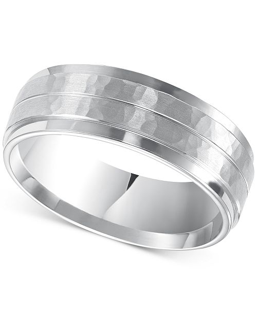 Men S Hammered And Brush Finish Wedding Band In 14k White Gold