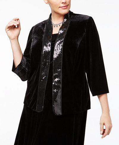 Alex Evenings Plus Size Sequined Velvet Jacket & Shell