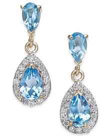 Blue Topaz (1-1/2 ct. t.w.) & Diamond (1/4 ct. t.w.) Drop Earrings in 14k Gold