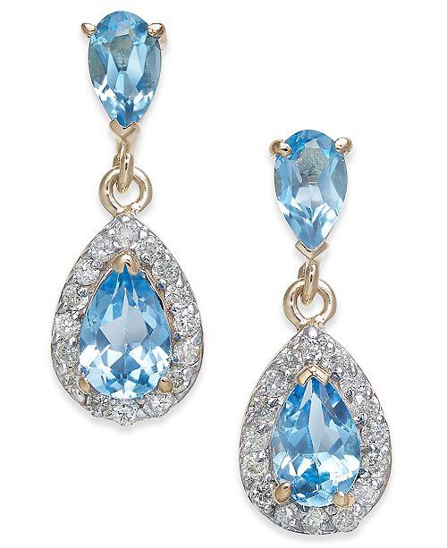 Macy's Blue Topaz (1-1/2 ct. t.w.) & Diamond (1/4 ct. t.w.) Drop Earrings in 14k Gold