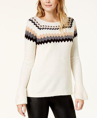 kensie Fair Isle Bell-Sleeve Sweater - Sweaters - Women - Macy's