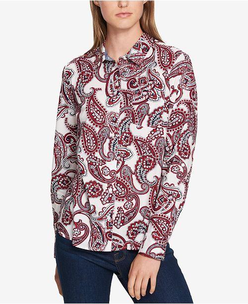 63b13f7601bc31 Tommy Hilfiger Cotton Paisley-Print Shirt   Reviews - Tops - Women ...