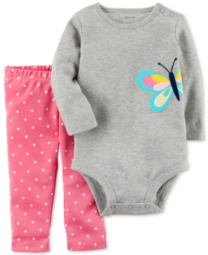 Carters 2Pc Cotton Butterfly Bodysuit  DotPrint Leggings Set Baby Girls (024 months)
