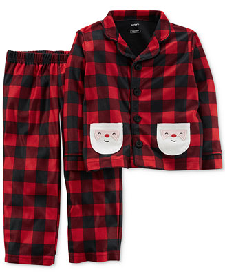 Carter S 2 Pc Buffalo Check Santa Pajama Set Toddler