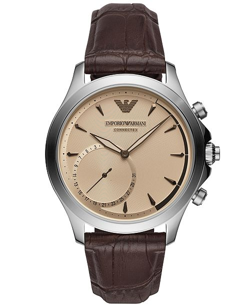 ... Emporio Armani Men s Connected Brown Leather Strap Hybrid Smart Watch  ... 13ad2f41f48