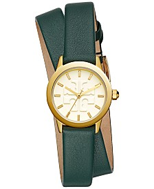 Tory Burch Women's Gigi Valley Forge Green Leather Wrap Strap Watch 28mm