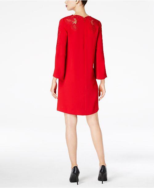 Alfani Petite Lace Trim Bell Sleeve Dress Created For Macys