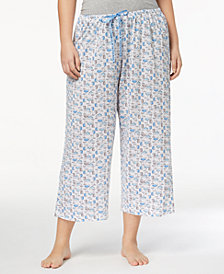 HUE® Plus Size Icy Margarita Knit Capri Pajama Pants
