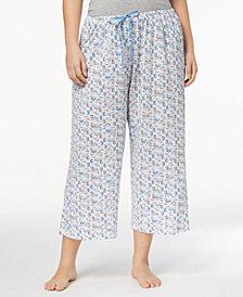 HUE® Plus Size Icy Margarita Knit Capri Pajama Pants