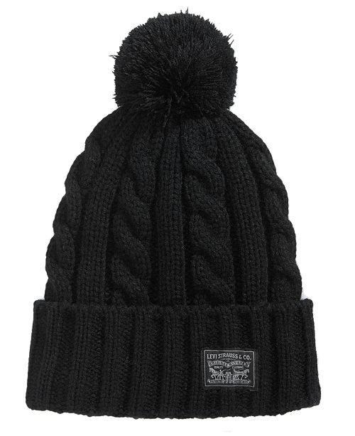 Levi s Men s Pom Pom Cable-Knit Beanie - Hats 00958831bf7