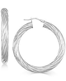Textured Twist Hoop Earrings in 14k Gold
