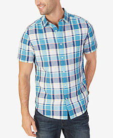 Nautica Men's Classic-Fit Linen-Blend Plaid Shirt