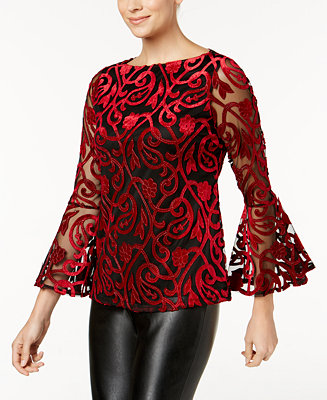 Charter Club Petite Burnout Velvet Illusion Top Created