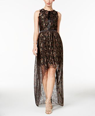 Adrianna Papell Petite Metallic Lace High-Low Gown