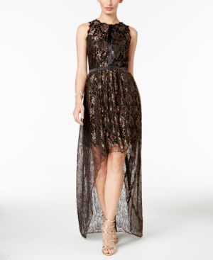 Adrianna Papell Metallic Lace High-Low Dress 5169959