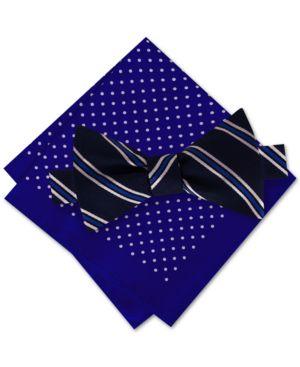 Tommy Hilfiger Men's Stripe To-Tie Bow Tie & Dot Pocket Square Set thumbnail