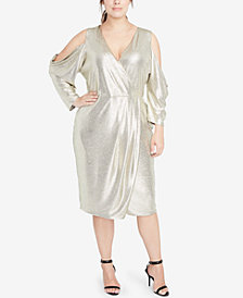 RACHEL Rachel Roy Plus Size Cold-Shoulder Metallic Wrap Dress