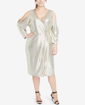 60s 70s Plus Size Dresses, Clothing, Costumes Rachel Rachel Roy Plus Size Cold-Shoulder Metallic Wrap Dress $88.99 AT vintagedancer.com