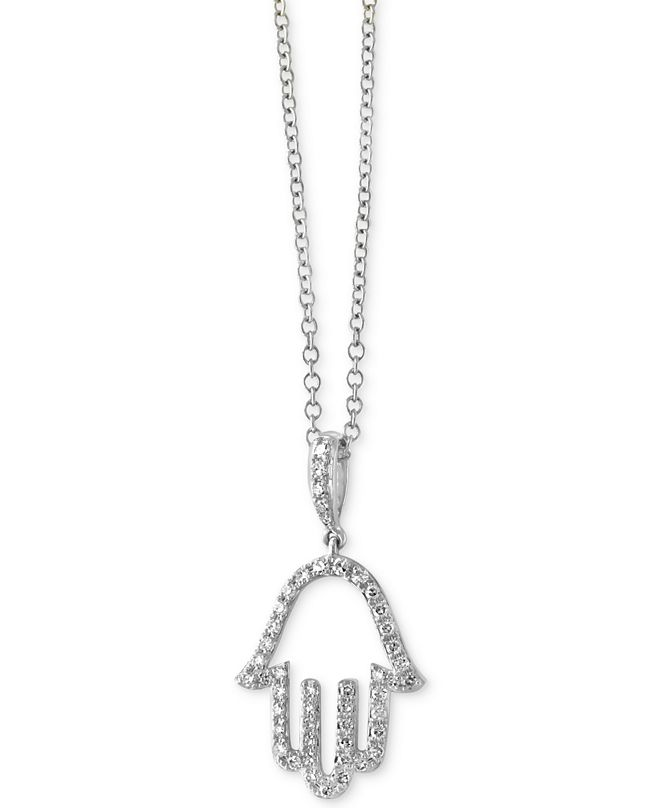 EFFY Collection Pavé Classica by EFFY® Diamond Hamsa Hand Pendant Necklace (1/5 ct. t.w.) in 14k White Gold