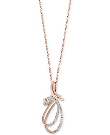 Pavé Rose by EFFY® Diamond Double Swirl Pendant Necklace (1/4 ct. t.w.) in 14k Rose Gold