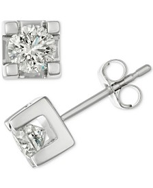 Diamond Square Claw Stud Earrings (1 ct. t.w.) in 14k White Gold